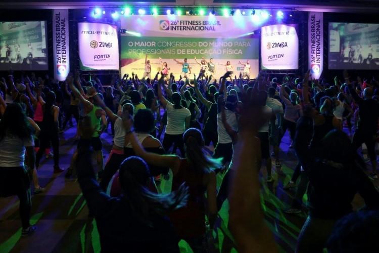 Espaço de workout do congresso Fitness Brasil Internacional